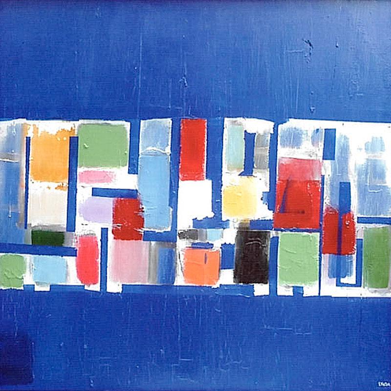 Composition sur fond bleu Majorelle - Acrylique sur toile