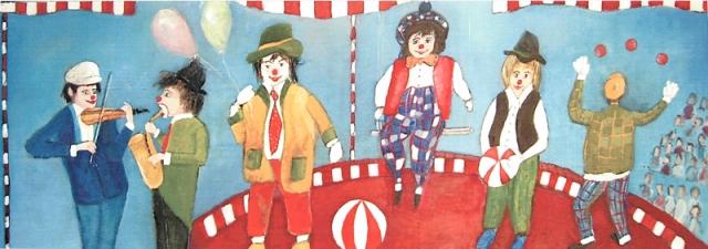 L'Ecole du cirque - Acrylique sur bois - 150x50 cm