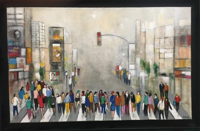 En ville sous la brume - Acrylique sur toile - 61cm x 38cm