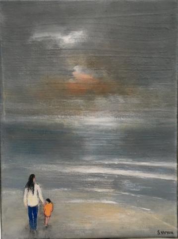Sunset walk - Acrylique sur toile - 16cmx22cm