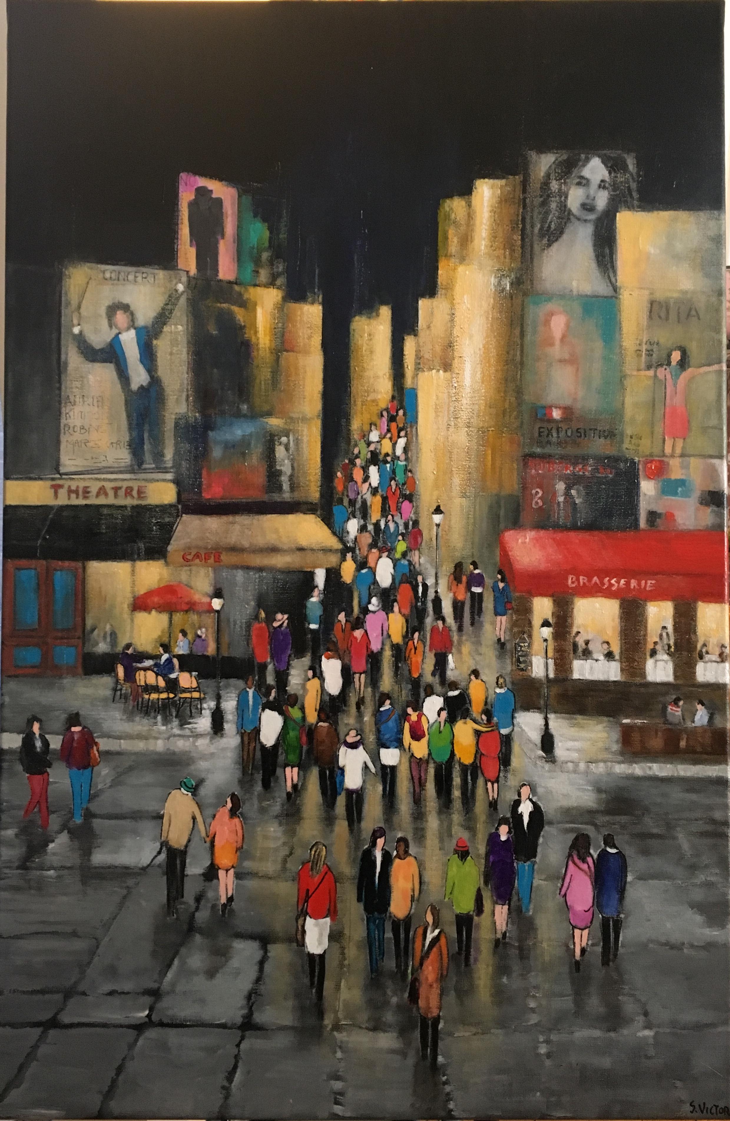 Promenade du soir - Acrylique sur toile - 100cm x 65cm