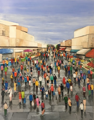 Jour de Marché - Acrylique sur toile - 147cm x 114cm