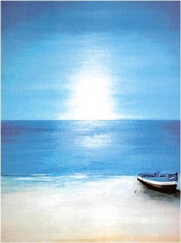 Mogador La plage - Acrylique sur bois