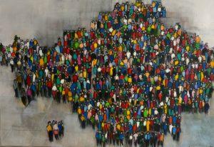 Personnages-La-foule-Acrylique-sur-toile-130-x-89-cm