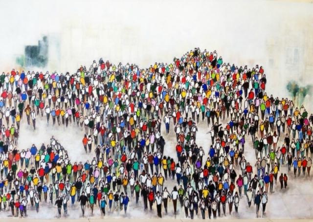 Pietons - Acrylique sur carton - 120x80cm
