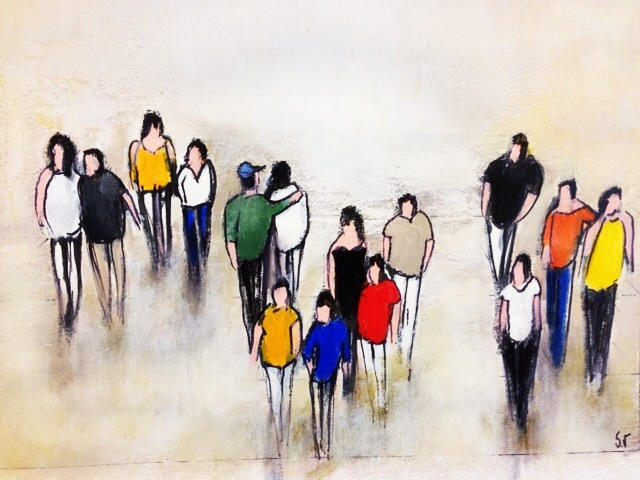 Promenade - Acrylique sur papier - 18x24 cm