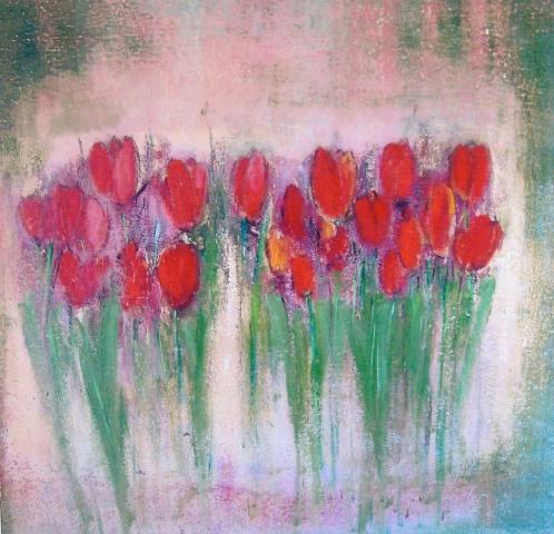 Tulipes rouges - Acrylique sur bois