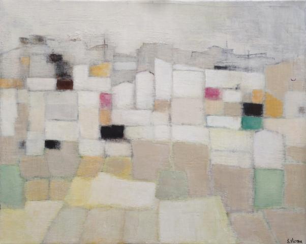 Village champêtre - Acrylique sur toile - 40x33cm