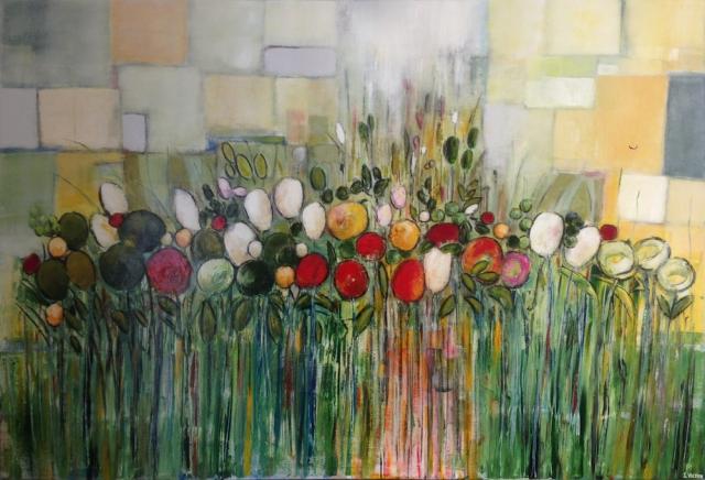Au fond du jardin - Acrylique sur toile - 130x89 cm