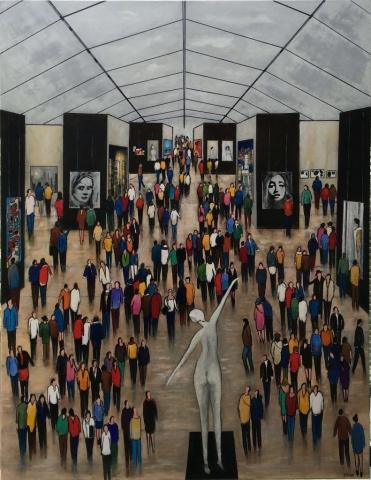 Au Musée - Acrylique sur toile - 114x146cm
