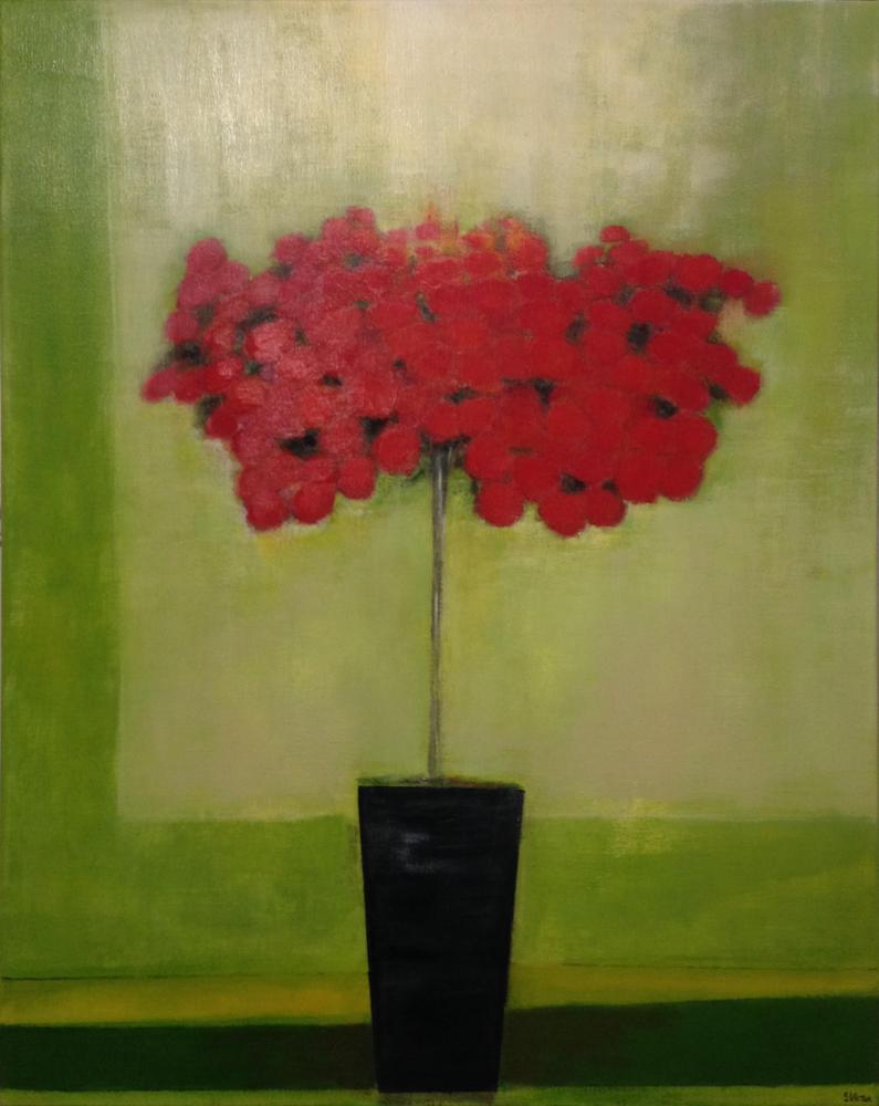 Azalée rouge - Acrylique sur toile - 80x100 cm