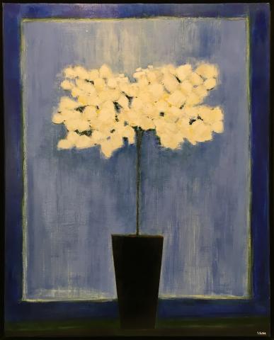 Azalée sur fond bleu - Acrylique sur toile - 80x100 cm