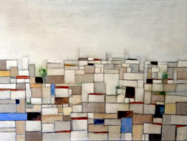 Vue sur la ville - Acrylique sur toile - 130x97 cm