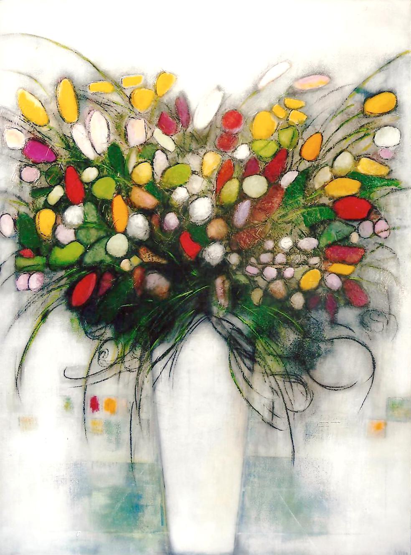 Le Bouquet de fleurs - Acrylique sur toile - 130x97 cm