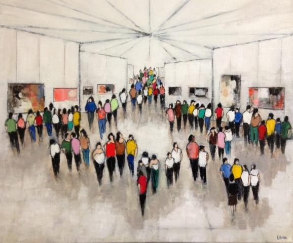 L'Exposition - Acrylique sur toile - 55x46 cm
