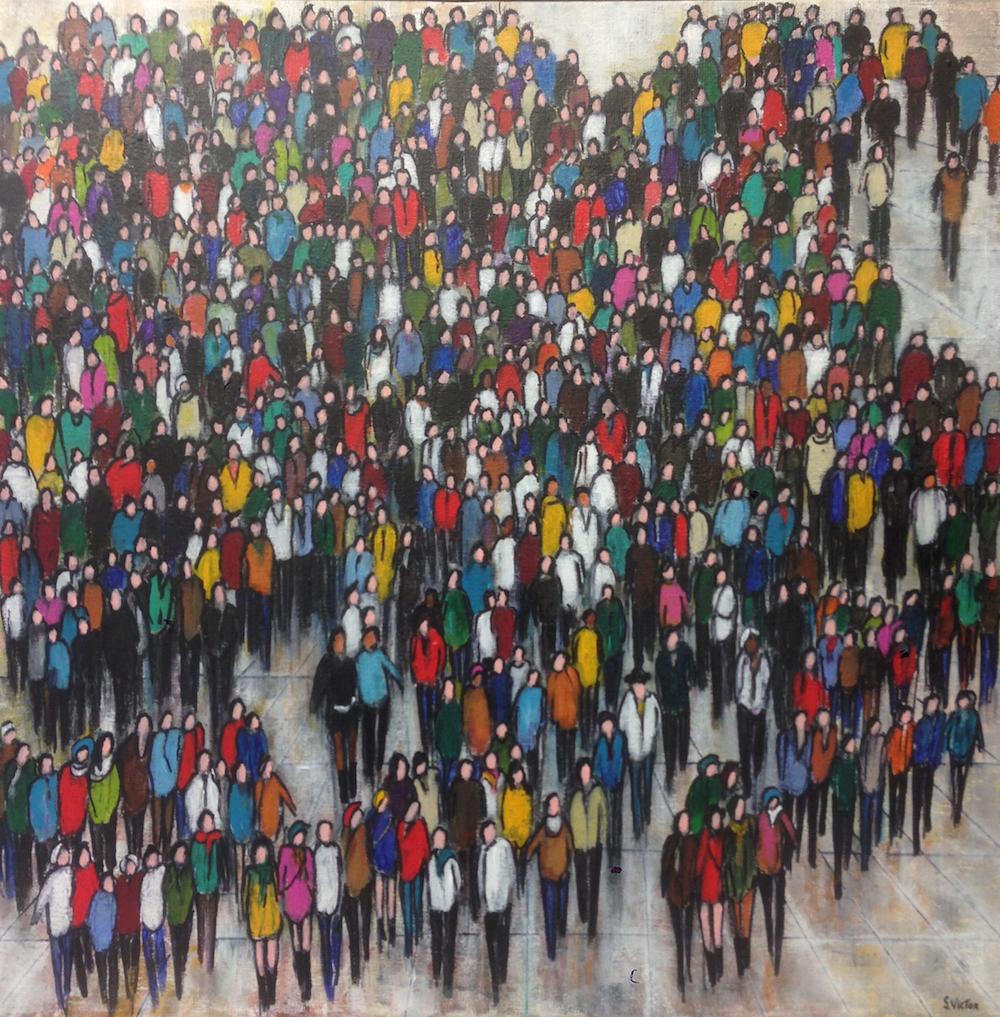 Petite foule - Acrylique sur toile - 60x60 cm