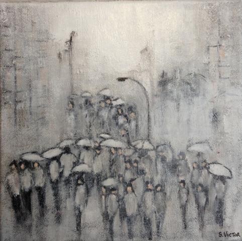 Un jour de pluie - Acrylique sur toile - 20x20 cm