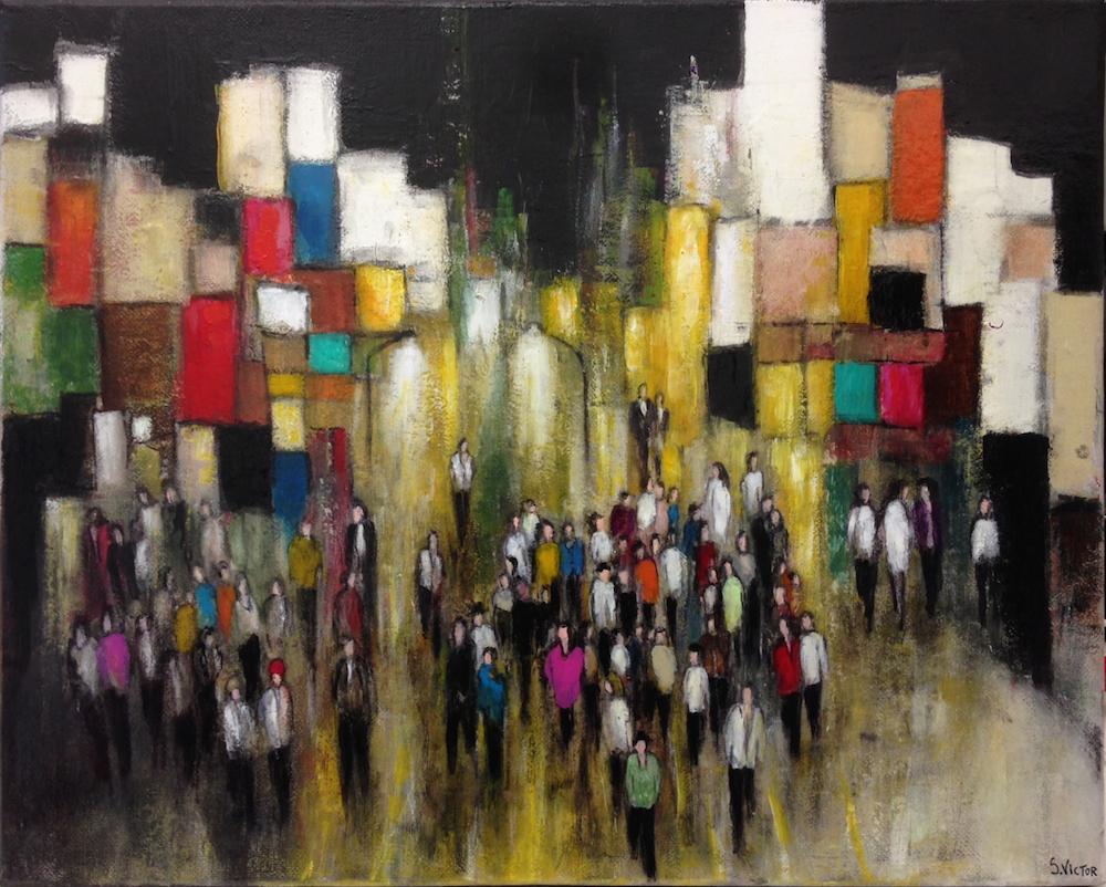 Promenade nocturne - Acrylique sur toile
