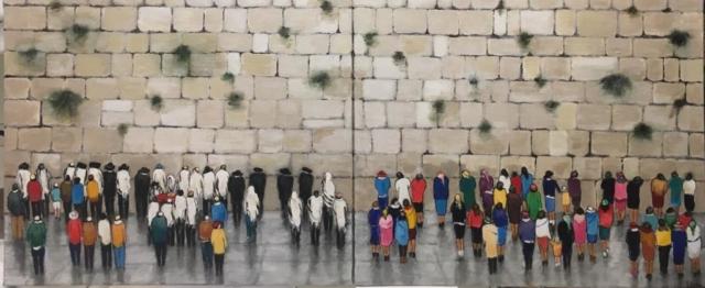 Jérusalem au mur des lamentations - Acrylique sur toile - 46cm x 110cm