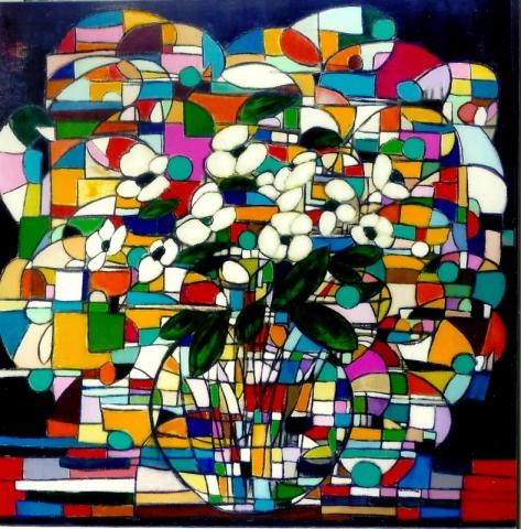 Couleurs et Transparence - Acrylique sur toile - 100x100 cm