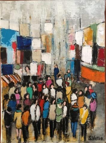 Rue piétonne - Acrylique sur toile - 16cmx22cm