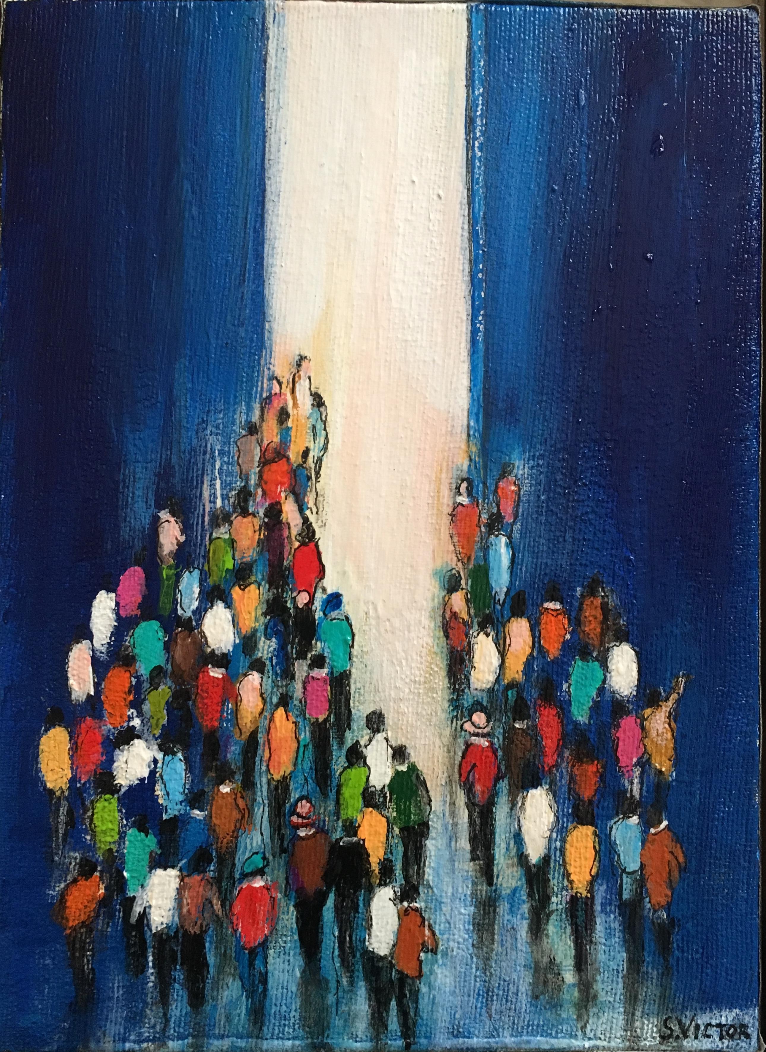 Vers la lumière - Acrylique sur toile - 16cmx22cm