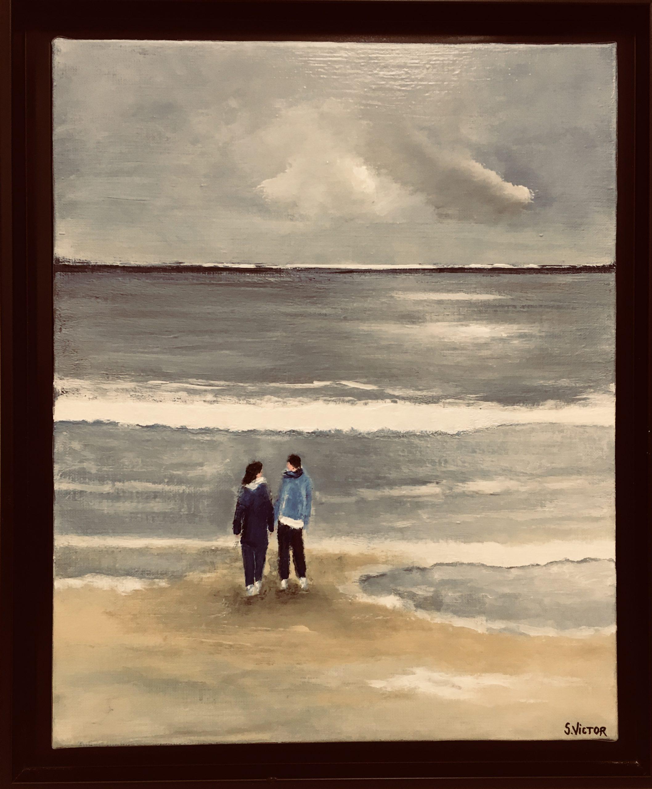 Les pieds dans l'eau - Acrylique sur toile - 33cm x 41cm
