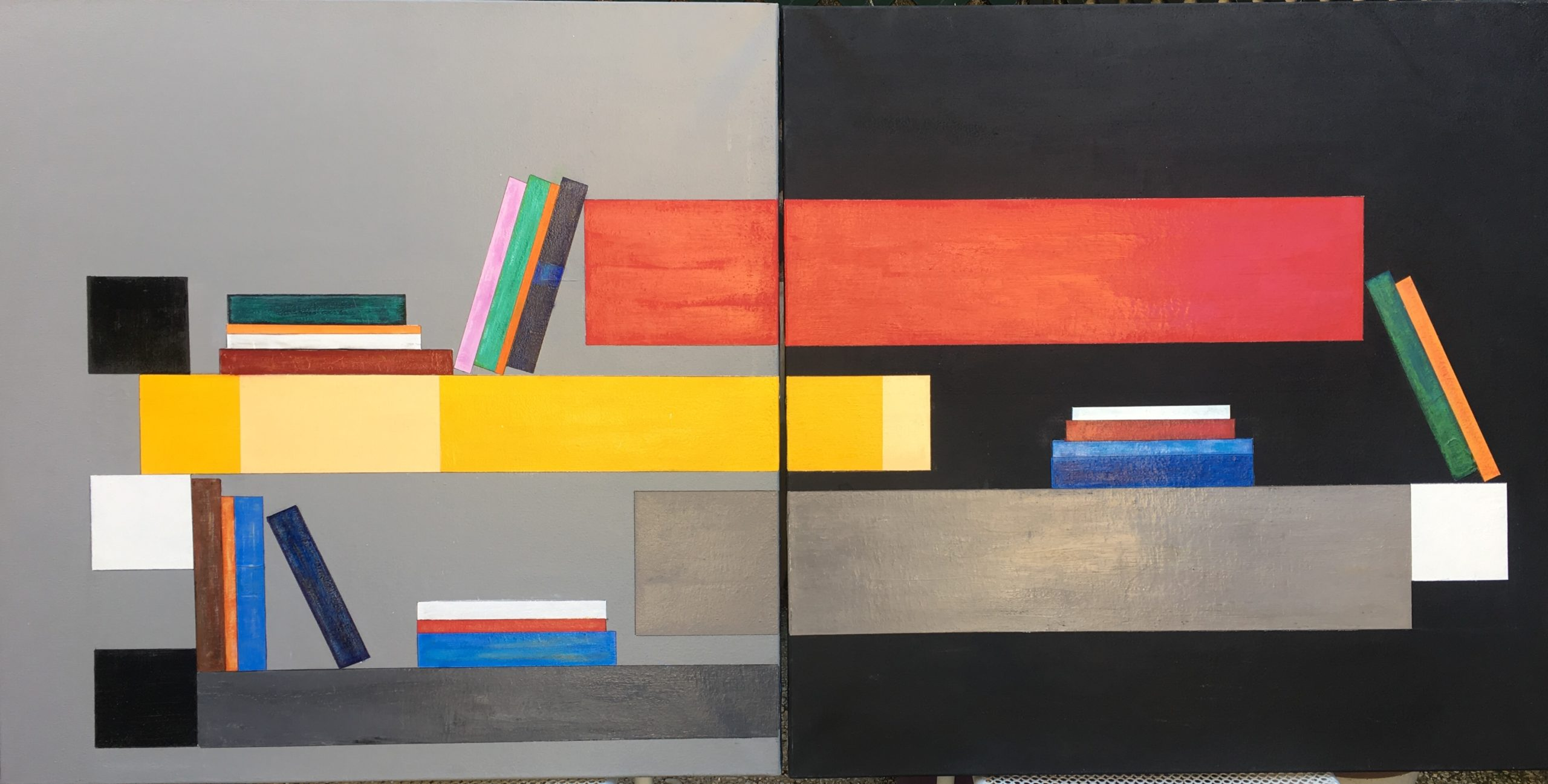 Composition 9 - Acrylique sur toile - 2x80x80 cm