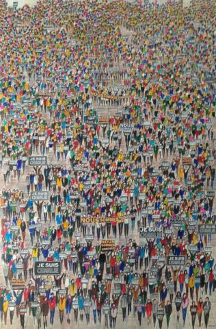 La Marche - Acrylique et Marqueurs sur carton - 80x120 cm