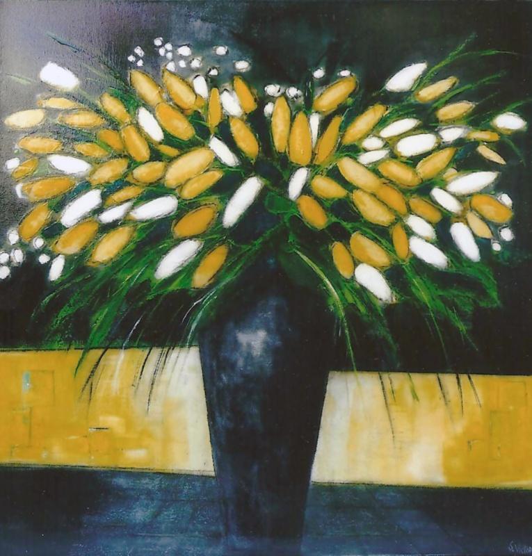 Le Vase Noir - Acrylique sur toile - 100x100 cm