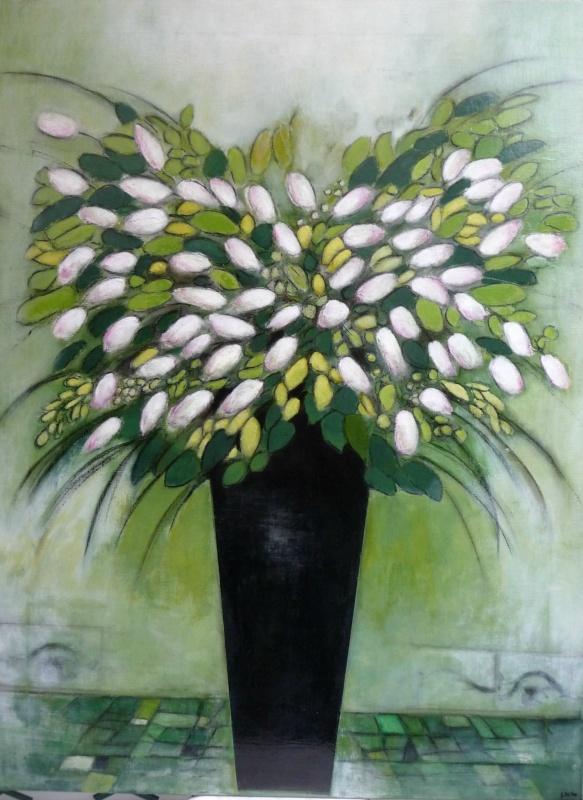 Le Bouquet vert - Acrylique sur toile - 130x97 cm