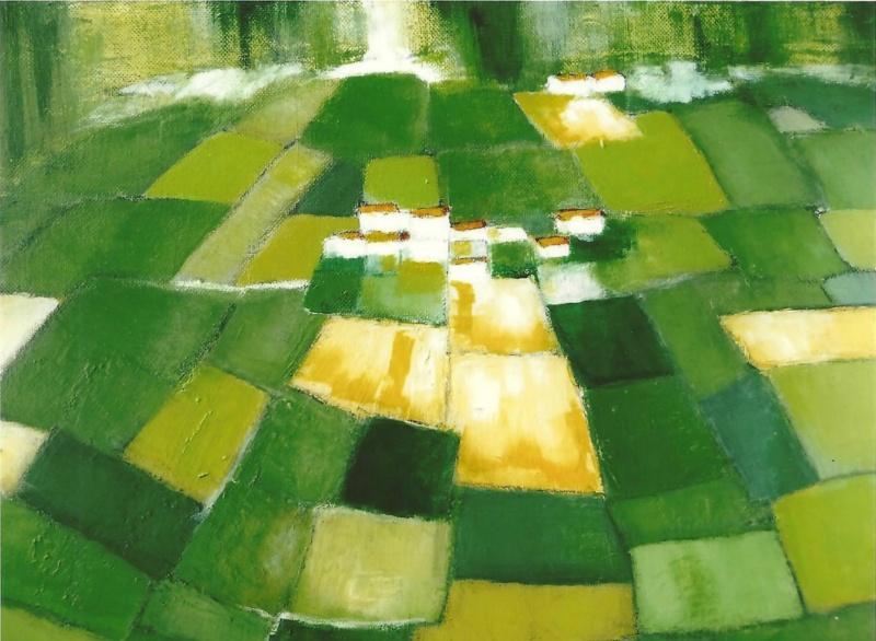 Village - Acrylique sur toile - 41x33 cm