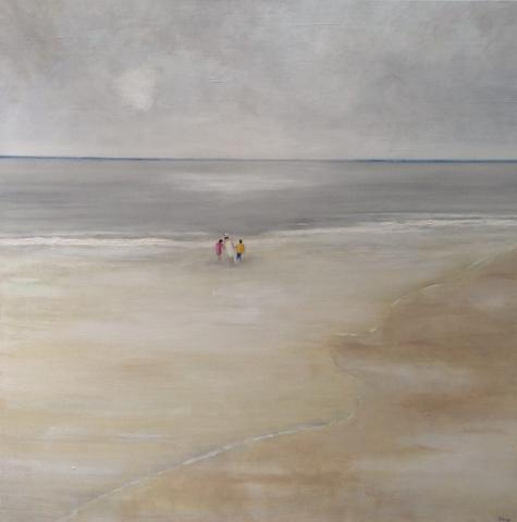 Au bord de l'eau - Acrylique sur toile - 100x100 cm