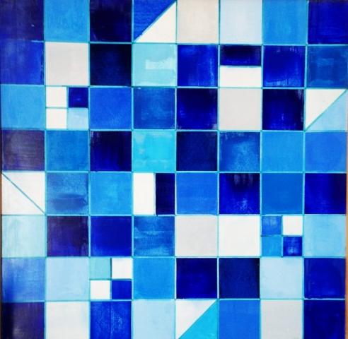 Contrastes bleus - Acrylique sur bois - 80x80 cm