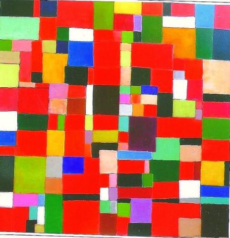 Composition rouge - Acrylique sur toile - 100x100 cm