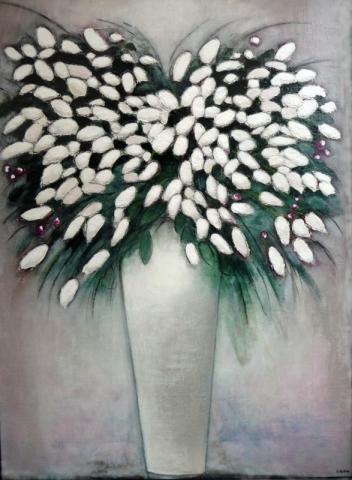 Fleurs blanches - Acrylique sur toile - 130x89 cm