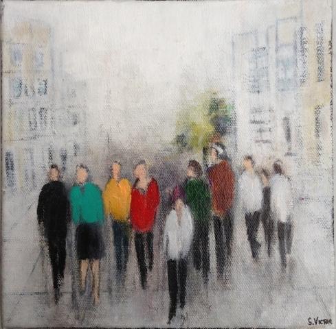 Balade en ville - Acrylique sur toile - 20x20 cm
