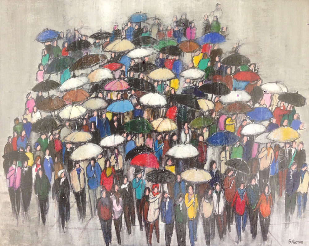 Sous la pluie - Acrylique sur toile